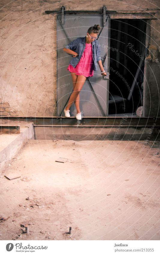 Woman Human being Beautiful Life Wall (building) Wall (barrier) Footwear Legs Wait Fashion Adults Pink Door Lifestyle Cool (slang)