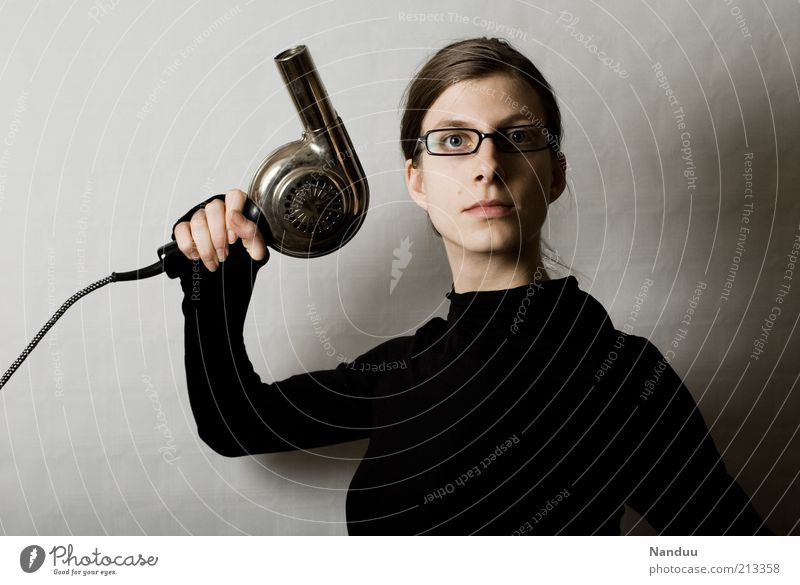 Human being Youth (Young adults) Black Feminine Adults Crazy Retro Eyeglasses Threat Trashy Expressionless Hairdresser Electrical equipment Earnest Craftsperson