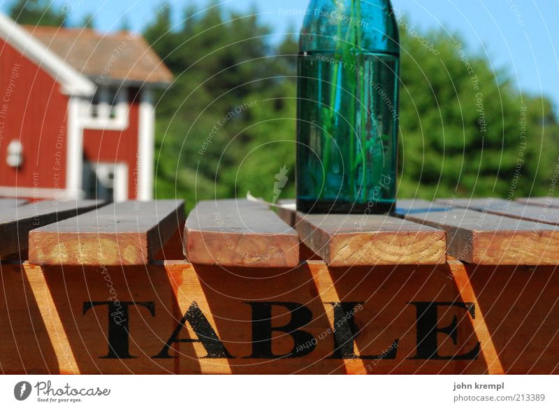 table Nutrition Bottle Vase Table Wood Relaxation Blue Brown Green Red Happy Joie de vivre (Vitality) Idyll Nature Contentment Sweden hasselö Beer table