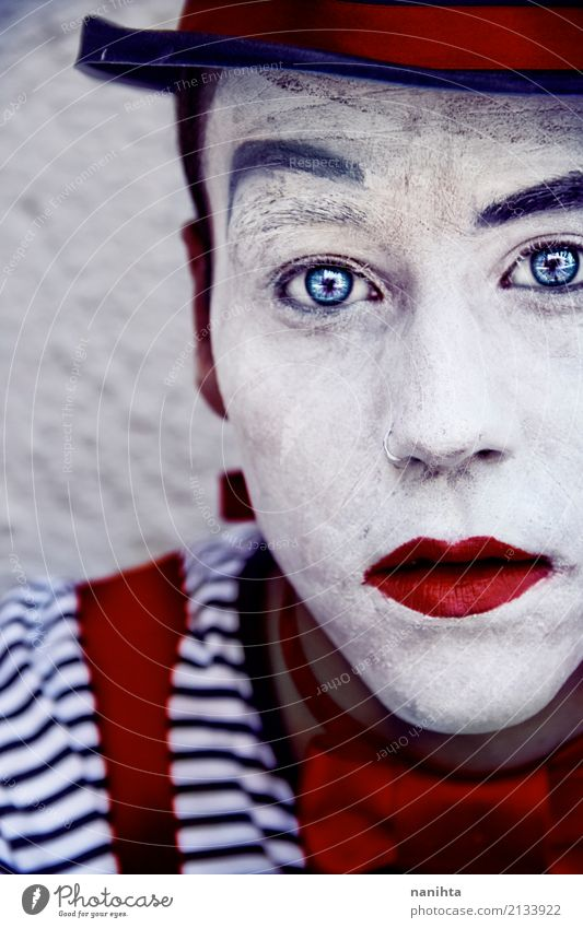 Young man with clown make up and blue eyes Human being Youth (Young adults) Blue White Red 18 - 30 years Black Adults Sadness Style Art Design Masculine Dream