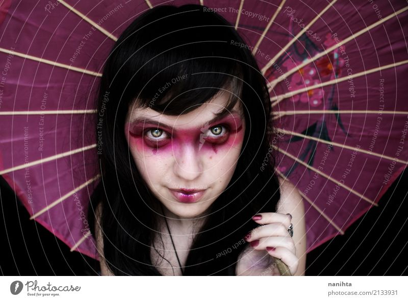 Young woman with a geisha costume Human being Youth (Young adults) Beautiful 18 - 30 years Black Face Adults Feminine Style Happy Feasts & Celebrations Pink