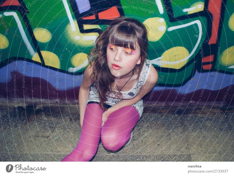 Portrait of a young woman. Youth culture style. Human being Youth (Young adults) Young woman Loneliness 18 - 30 years Adults Lifestyle Graffiti Feminine Style
