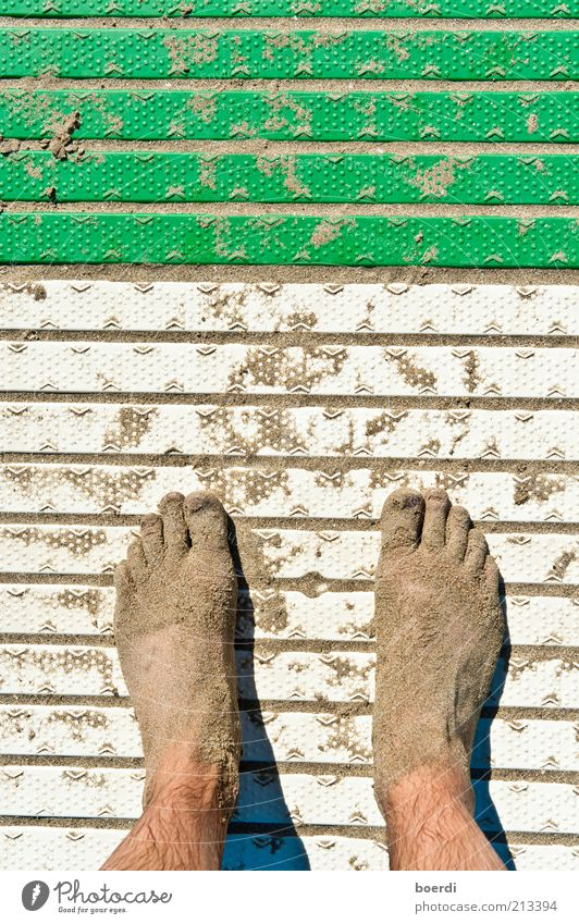 eco Vacation & Travel Tourism Summer Summer vacation Beach Feet Sand Stand Dirty Wet Green White Unwavering Leisure and hobbies Stagnating Toes Striped