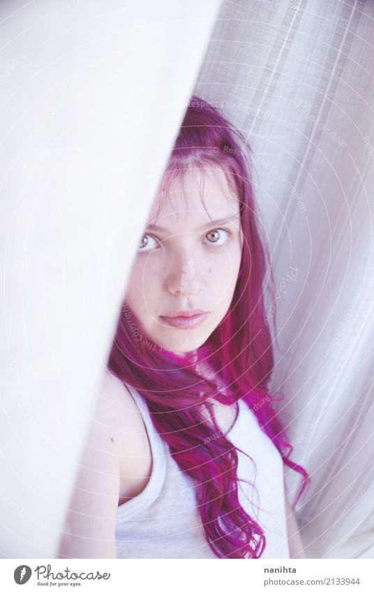 Young shy woman with pink hair Human being Youth (Young adults) Young woman Beautiful White Eroticism 18 - 30 years Adults Lifestyle Feminine Style