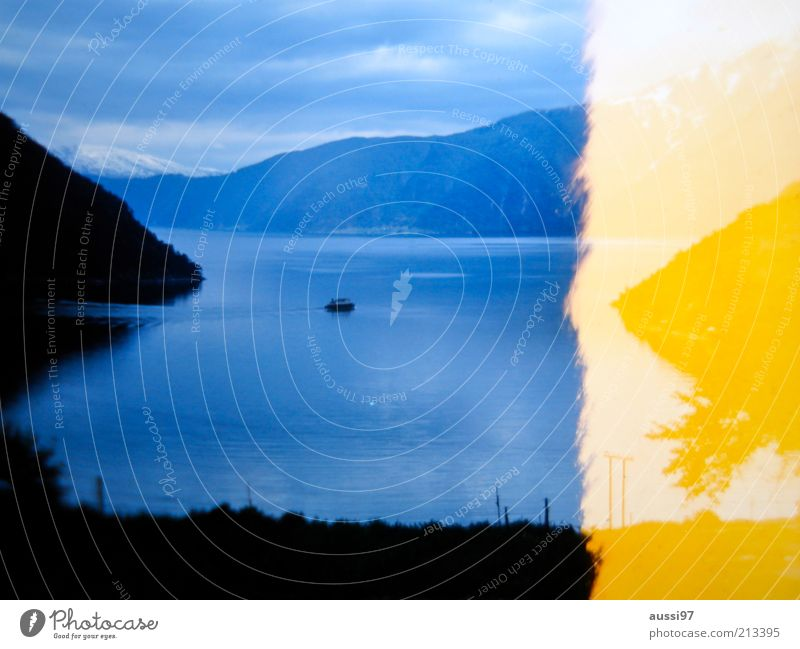 Far-off places Landscape Watercraft Bay Fjord Slide Ferry Blue-yellow Light leak