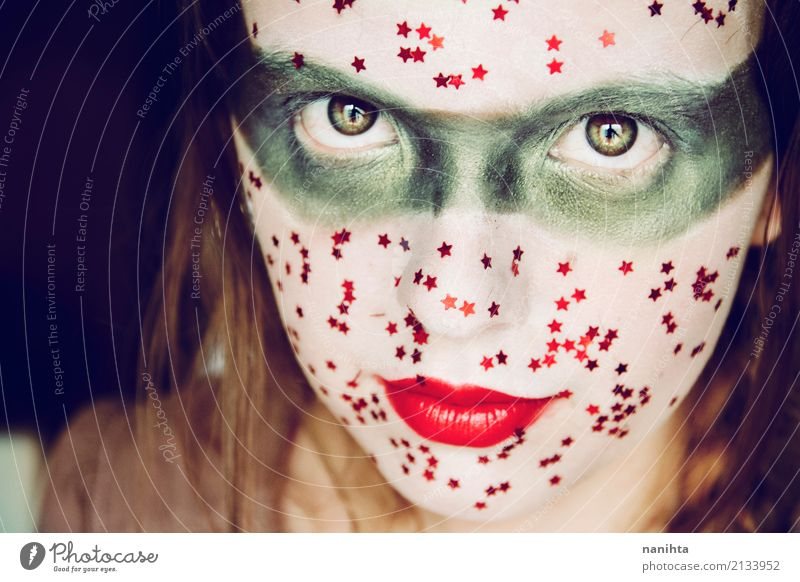 Young woman with a creative and fantasy make up Human being Youth (Young adults) Beautiful Green White Red 18 - 30 years Adults Feminine Style Art