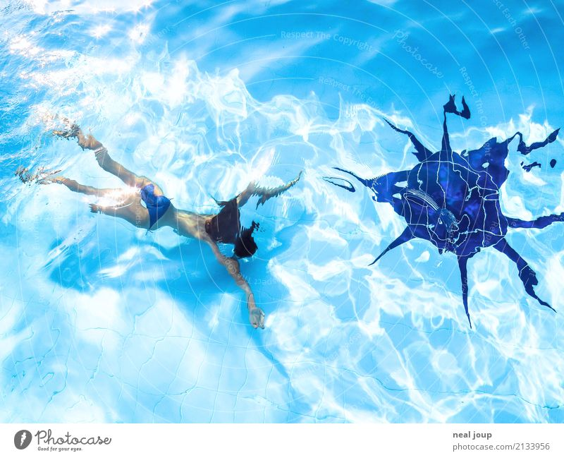 Young girl diving in swimming pool Swimming & Bathing Feminine Child Body 8 - 13 years Infancy Swimming pool Water Sun Dive Exotic Free Happy Uniqueness