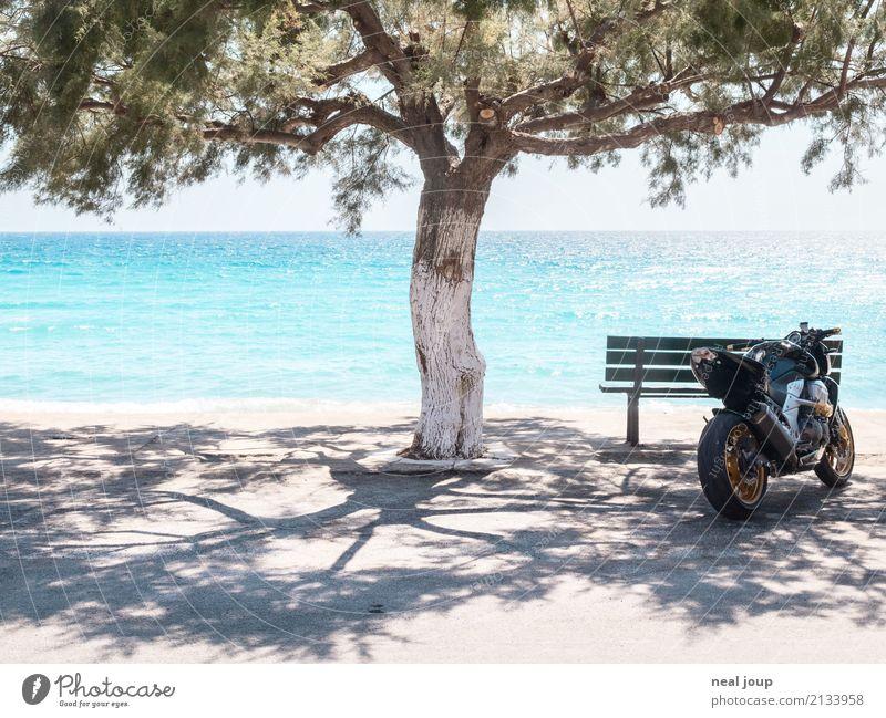 shadow parker Summer vacation Ocean Motorcycle Tree Crete Deserted Waiting bench Parking lot Shopping Simple Uniqueness Rebellious Joie de vivre (Vitality)