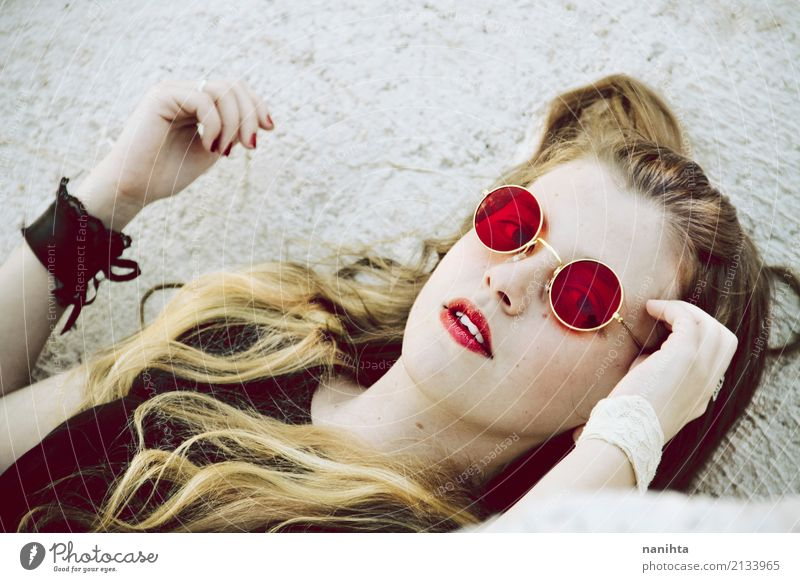 Young blonde woman with red sunglasses Human being Youth (Young adults) Young woman Beautiful Red Relaxation 18 - 30 years Black Face Adults Lifestyle Feminine