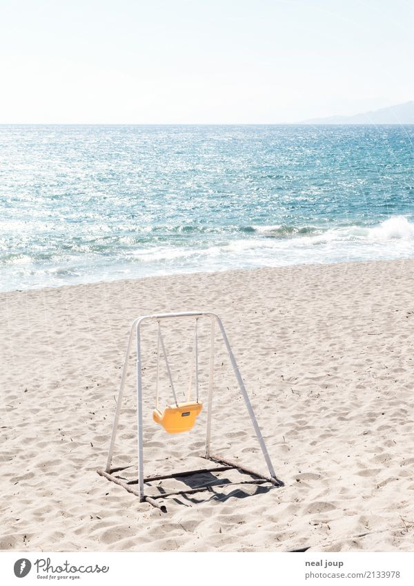 Fun must be Children's game Summer vacation Coast Beach Ocean Crete Deserted Toys Swing Playing Sadness Wait Blue Yellow Loneliness Leisure and hobbies Joy