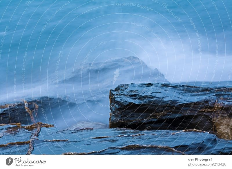 After me the flood of meaning Water Waves Coast Bay Ocean Cold Wet White crest Rock Colour photo Copy Space top Copy Space bottom Evening Long exposure Deserted