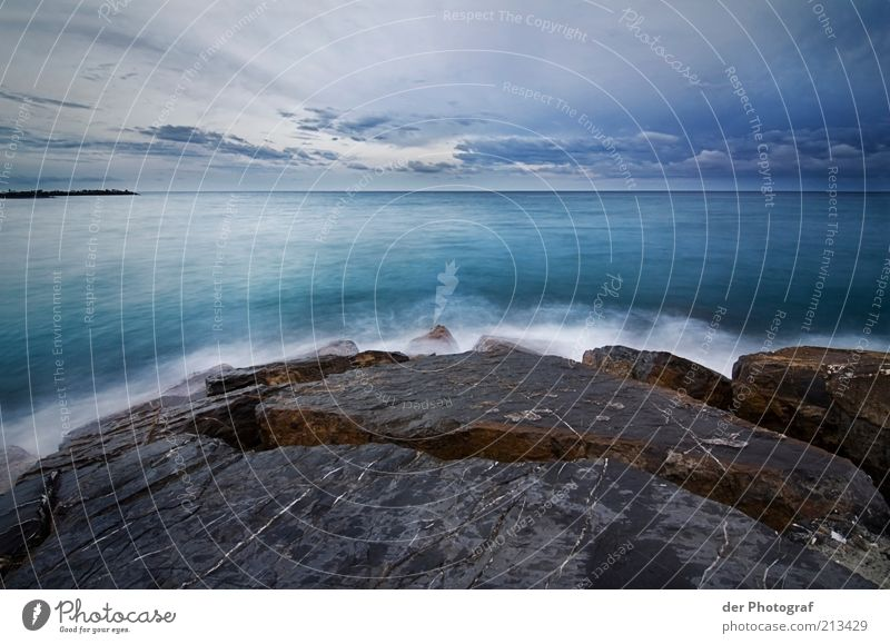 Nature Water Ocean Far-off places Cold Stone Landscape Coast Waves Wet Horizon Rock Longing Copy Space Reef Clouds in the sky