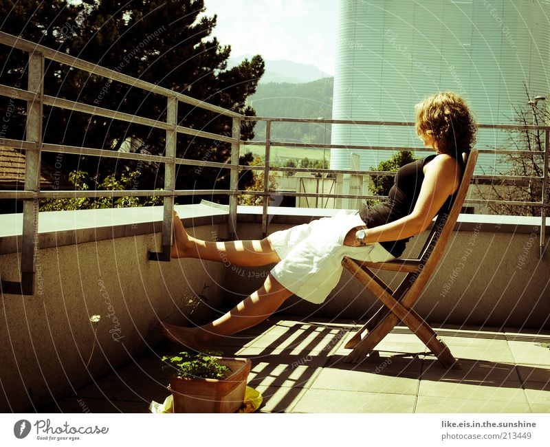 Finally weekend!!! Contentment Relaxation Calm Chair Balcony Balcony plant Feminine Young woman Youth (Young adults) Woman Adults Life 1 Human being