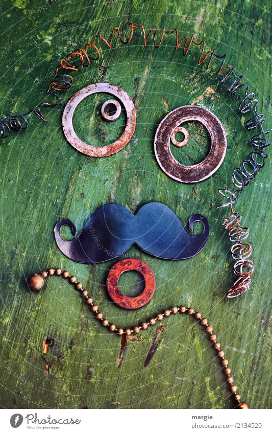 Emotions...cool faces: Grandpa Masculine Man Adults Face Eyes Mouth 1 Human being Looking Green Moody Facial hair Grandfather Circle Chain Spiral Rust Old