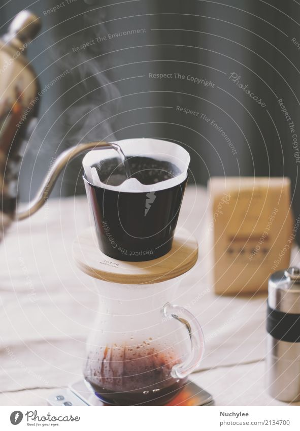 Hand drip coffee, pouring water on coffee ground with filter drip style fresh table caffeine arabica aroma aromatic artisan background beverage break breakfast