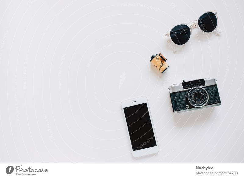 Creative Flat lay with camera, sunglasses and smartphone Lifestyle Style Design Joy Vacation & Travel Summer Decoration Telephone Cellphone PDA Camera