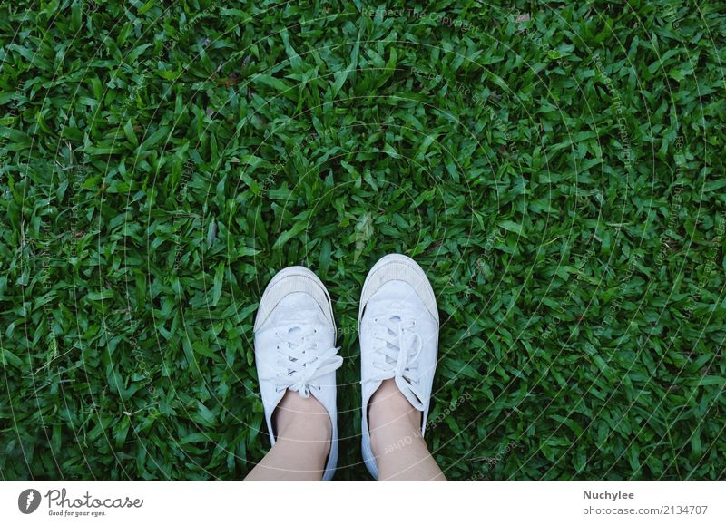 Selfie of feet in sneakers shoes on grass Human being Nature Vacation & Travel Summer Green White Lifestyle Spring Meadow Style Grass Freedom Feet Fashion Above