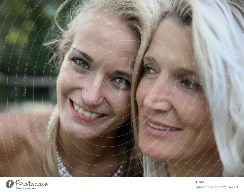 Elisa and Fadila Feminine Woman Adults 2 Human being Summer Park Jewellery Blonde Long-haired Observe Relaxation Smiling Laughter Looking pretty Joy Contentment