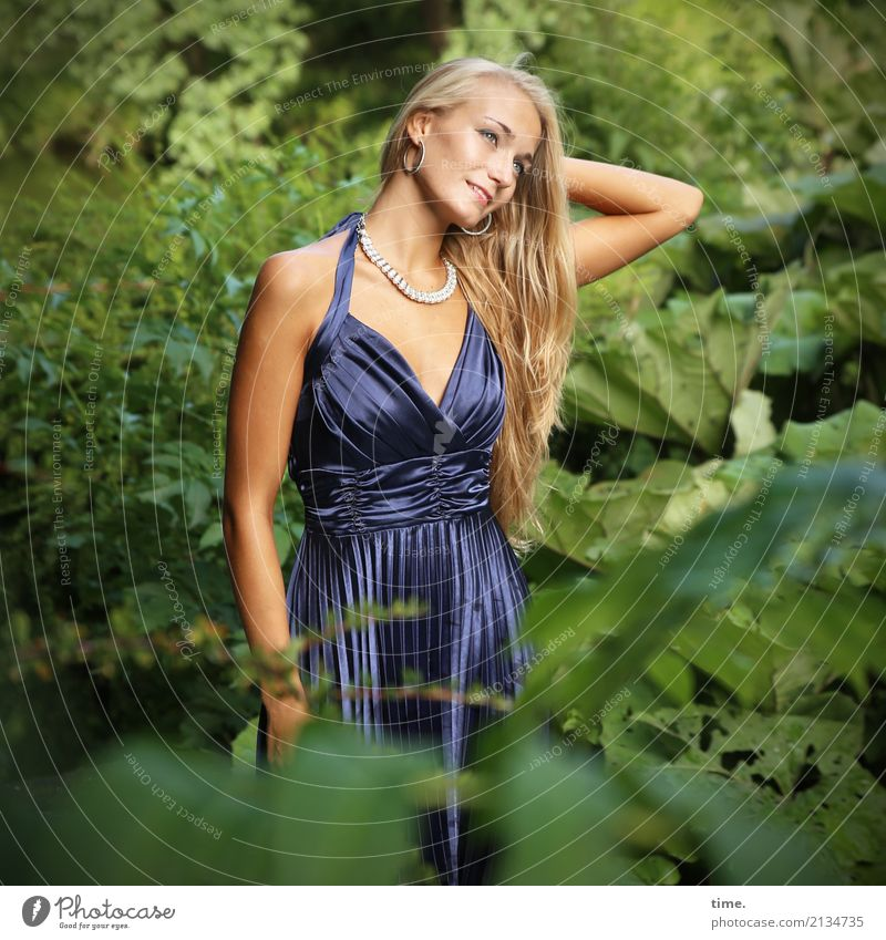 . Feminine Woman Adults 1 Human being Summer Beautiful weather Plant Foliage plant Park Dress Jewellery Blonde Long-haired Observe To hold on Smiling Looking