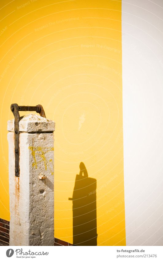 yellow press Architecture Wall (barrier) Wall (building) Facade Stone wall Rust Old Historic Dry Yellow White Past Stele Shadow Graffiti Summer Colour photo