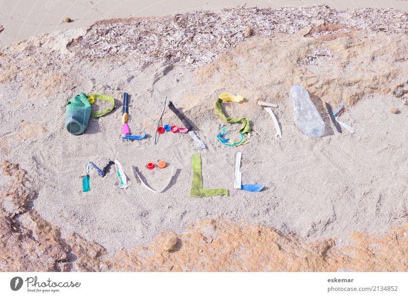 plastic waste Beach Ocean Environment Sand Sunlight Coast Packaging Plastic packaging Trash Plastic waste Plastic bag Characters writing Text Dirty