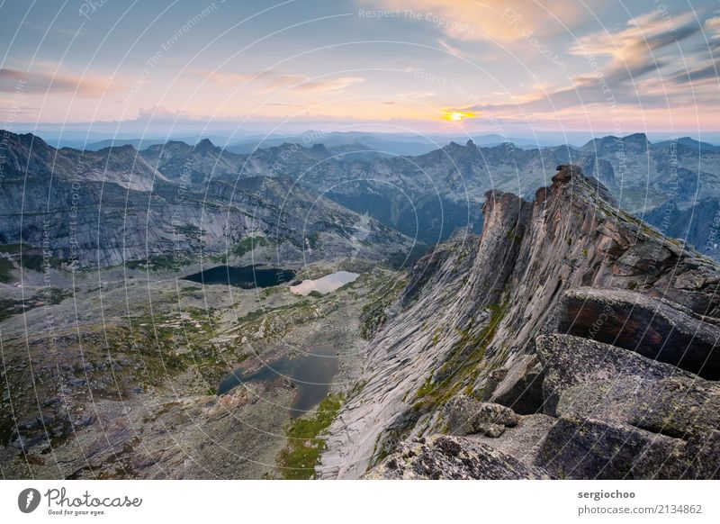 meeting the sunset on the top of a mountain Landscape Sun Hill Rock Alps Mountain Peak Lake Uniqueness Vacation & Travel Siberia Beautiful weather Nature