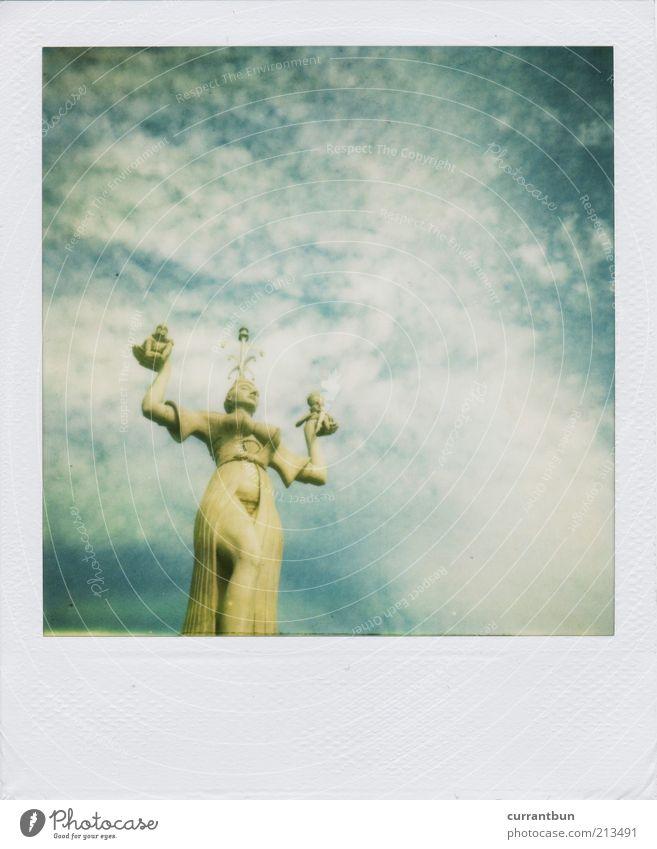 Ingrid Bergman Stone Esthetic Loneliness Konstanz Imperia Clouds Blue Blue sky Blue-white Statue Polaroid nd filter polaroid country camera 2000 Colour photo
