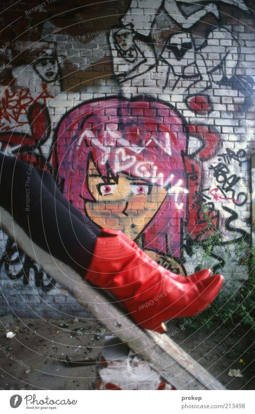 Woman Human being Youth (Young adults) Beautiful Feminine Wall (building) Happy Wall (barrier) Legs Graffiti Art Fashion Adults Crazy