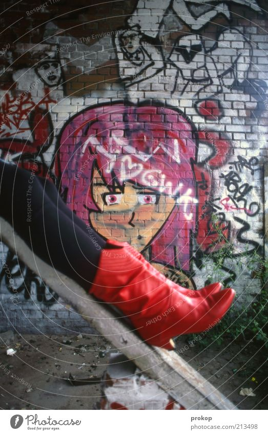 Woman Human being Youth (Young adults) Beautiful Feminine Wall (building) Happy Wall (barrier) Legs Graffiti Art Fashion Adults Crazy