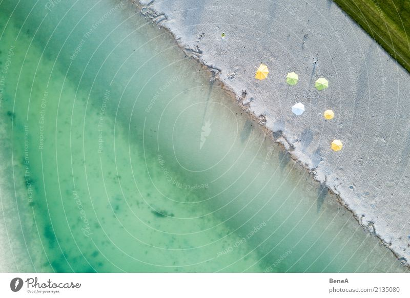 Beach and parasols on a lake from the air Joy Relaxation Vacation & Travel Tourism Trip Summer Summer vacation Sun Sunbathing Ocean Waves Swimming & Bathing