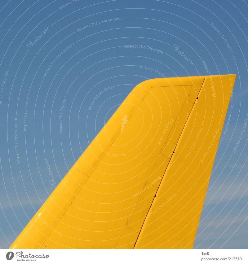 Blue Yellow Airplane Large Transport Industry Aviation Technology Logistics Services Traffic infrastructure Mail Economy Trade Blue sky Means of transport