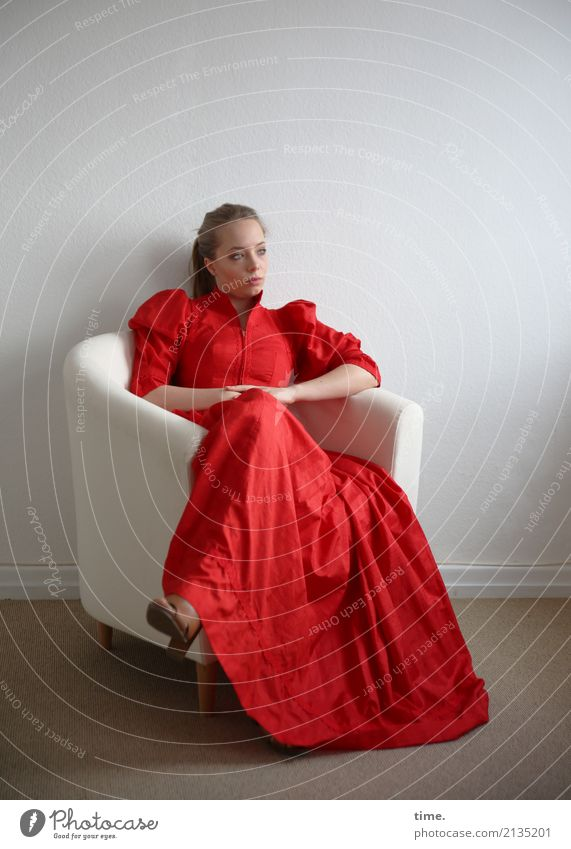 . Armchair Room Feminine Woman Adults 1 Human being Dress Blonde Long-haired Observe Think To hold on Looking Sit Dream Wait Beautiful Self-confident