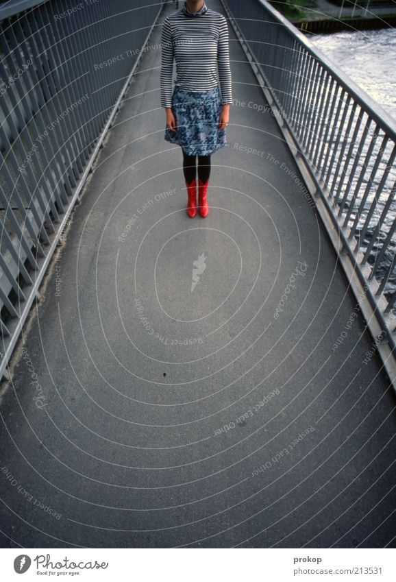 Woman Human being Youth (Young adults) Beautiful Red Black Adults Loneliness Feminine Gray Lanes & trails Fashion Wait Modern Bridge