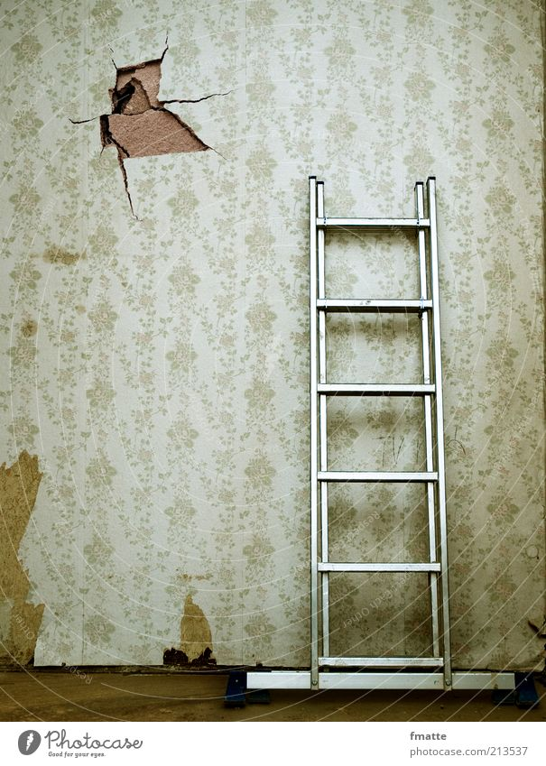 Old Wall (building) Wall (barrier) Construction site Living or residing Sign Wallpaper Craft (trade) Hollow Ladder Redecorate Old building Redevelop Time Shadow Wallpaper pattern