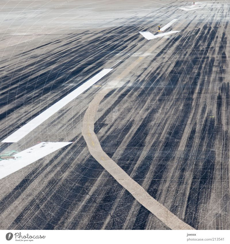 White Black Gray Line Concrete Aviation Airport Tracks Airplane takeoff Arrow Sign Direction Traffic infrastructure Airplane landing Against Runway
