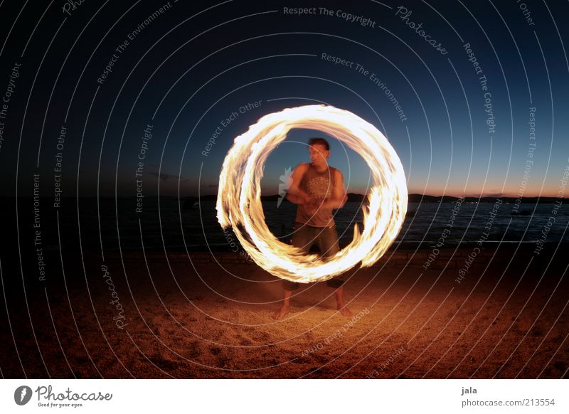 Ring of Fire Leisure and hobbies Playing Human being Masculine Man Adults 1 Sky Horizon Sunrise Sunset Beach Ocean Croatia Sign Movement Esthetic Circle