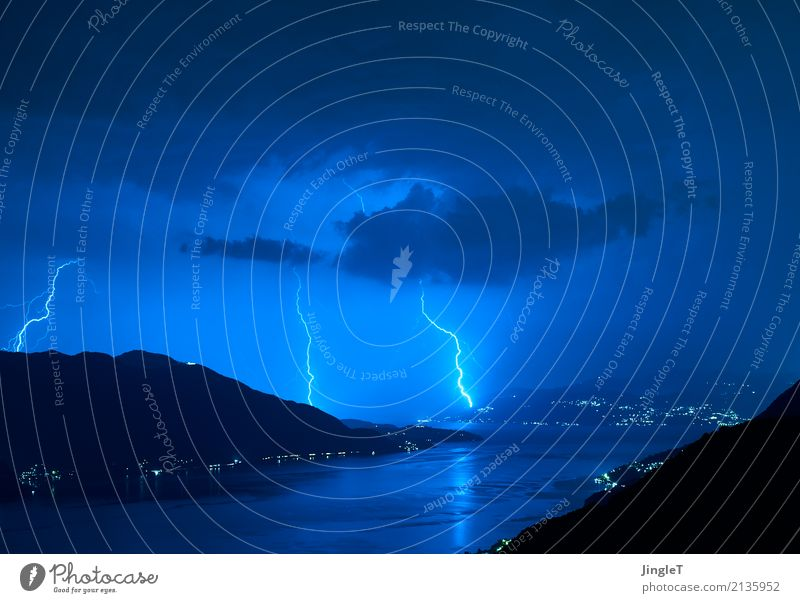 contact exchange Environment Nature Landscape Elements Water Sky Clouds Storm clouds Weather Rain Thunder and lightning Lightning Mountain Lake Lago Maggiore