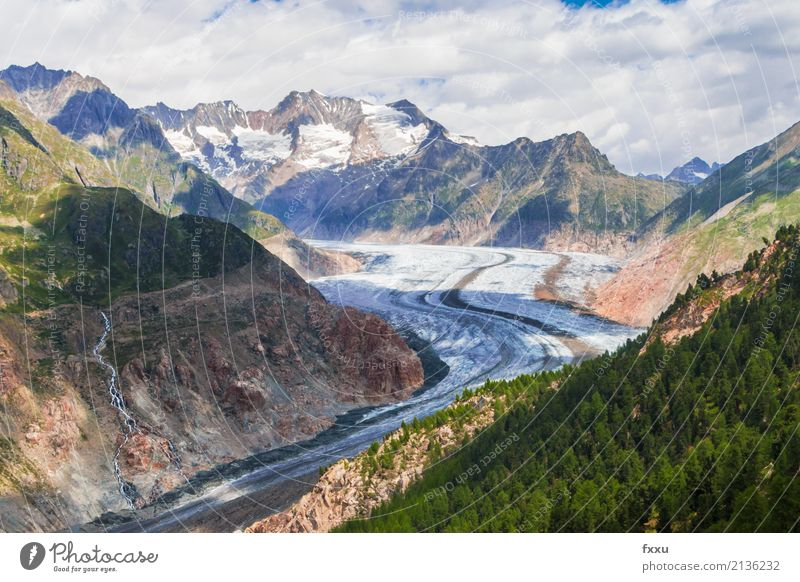 Mountain Hiking Large Climate Alps Switzerland Climate change Glacier High mountain region Canton Wallis Aletsch glacier