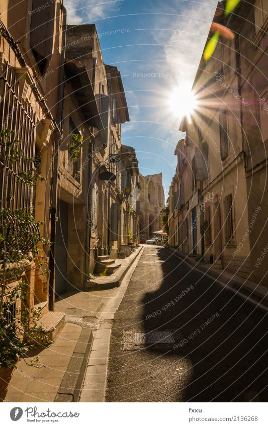 Alleyway in Arles Camargue Old town France Architecture Historic Street Back-light solar star Southern France