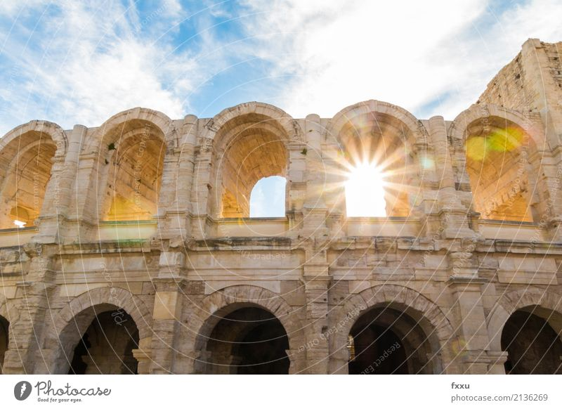 Amphitheatre of Arles Colosseum Camargue Back-light Sunbeam Solar Power Summer Attraction Tourist Attraction France Southern France Dusk Sunset dazzling