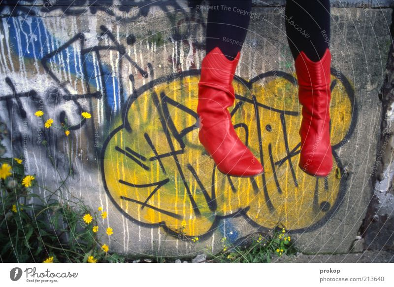 Red boots in the clouds Human being Androgynous Young woman Youth (Young adults) Woman Adults Feet Wall (barrier) Wall (building) Fashion Tights Boots Sit Fresh