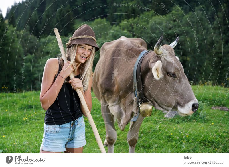 Human being Child Nature Youth (Young adults) Beautiful Landscape Animal Girl Environment Meadow Infancy Friendliness Agriculture 8 - 13 years Pet Cow