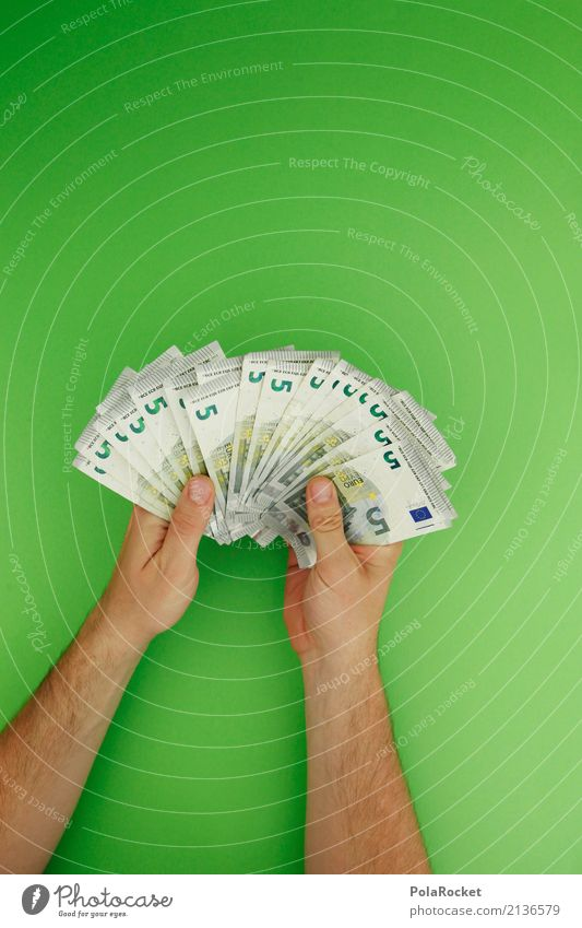 Green Hand Art Esthetic Success Money Many Financial institution 5 Bank note Euro Euro symbol Consolation prize Lottery Loose change