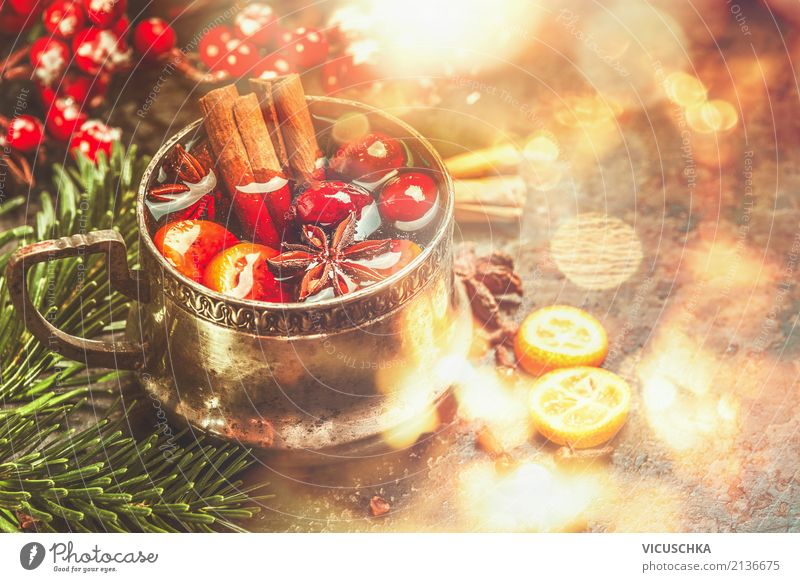 Mulled wine with spices for Christmas Nutrition Banquet Beverage Hot drink Cup Style Design Joy Winter Living or residing Feasts & Celebrations