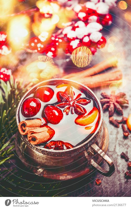 Cup of mulled wine with spices for Advent Beverage Hot drink Mulled wine Style Design Winter Feasts & Celebrations Christmas & Advent Decoration Tradition