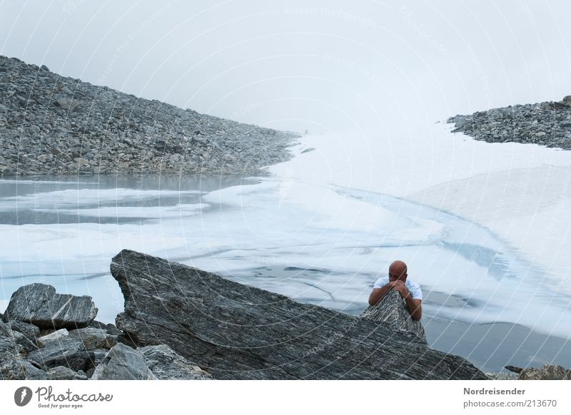 Human being Man Nature Loneliness Cold Mountain Stone Ice Adults Hiking Fog Masculine Rock Trip Lifestyle Adventure