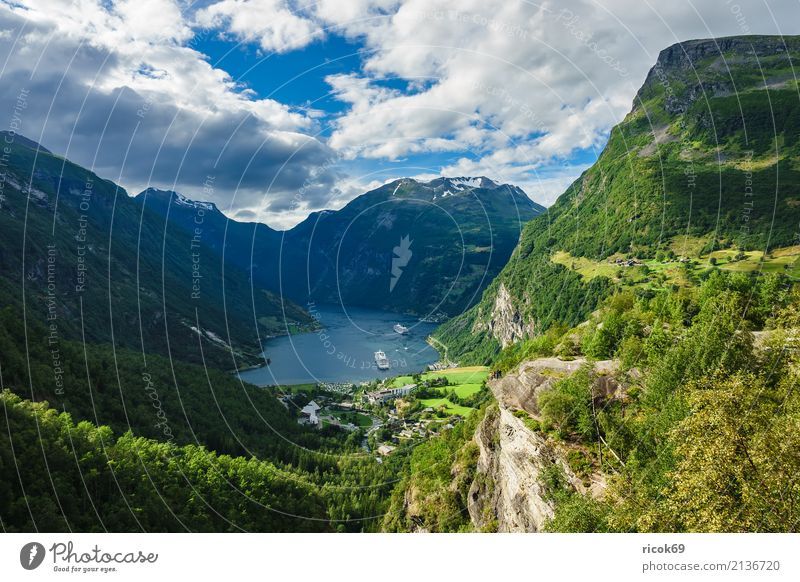 View of the Geirangerfjord in Norway Relaxation Vacation & Travel Tourism Cruise Mountain Nature Landscape Water Clouds Rock Fjord Tourist Attraction Idyll