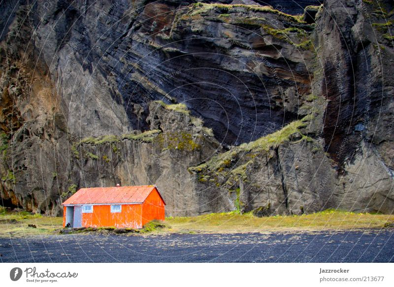 Nature Landscape Orange Coast Rock House (Residential Structure) Hut Iceland Environment Land Feature Deep depth of field Building Wooden hut