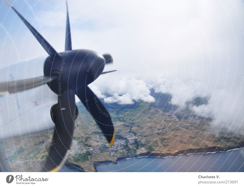 propeller Aviation Airplane Engines Coast Ocean Atlantic Ocean Cliff Portugal Azores Pico Means of transport Propeller aircraft Blue Brown Gray White Flying
