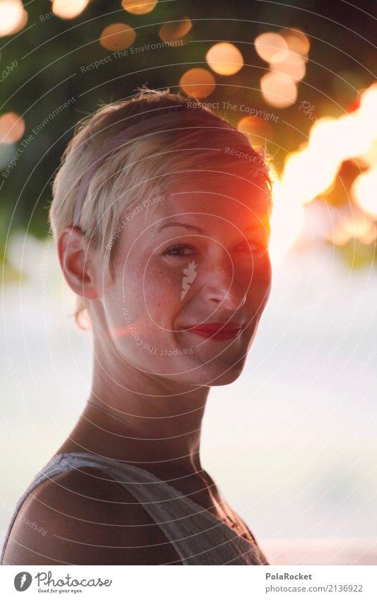 #A# Back light Art Esthetic Woman Face of a woman Sun Sunbeam Blur Happiness Colour photo Multicoloured Exterior shot Close-up Detail Experimental Abstract